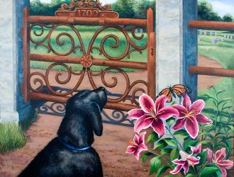 """Pat Conant - """"At The Gate"""" © large size acrylic painting."""