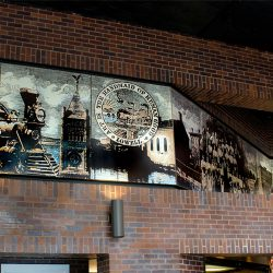 Pat Conant - The Charles A Gallagher Mural is a 5' x 55' mural porcelain enamel on steel and at the Charles A. Gallagher Terminal in Lowell, MA. Select image to view larger.